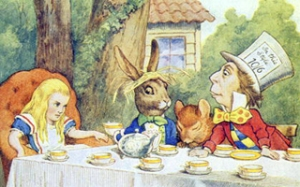 The Mad Hatter's Tea Party, illustration from 'Alice in Wonderland' by Lewis Carroll (1832-9) (color litho)  by Tenniel, John