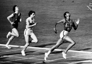 Wilma Rudolph wins the women's 100 meters running during at the 1960 Summer Olympics in Rome.