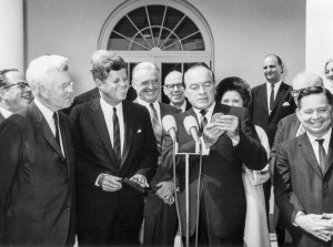 President Kennedy awarded a special medal to comedian Bob Hope in recognition of his services to the nation and the cause of world peace in a White House ceremony on September 11, 1963