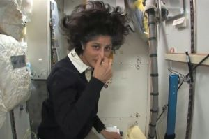 Expedition 33 Commander Sunita Williams tours the International Space Station's toilet hygiene station