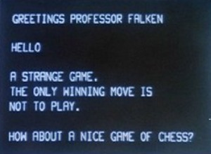"Communication from NORAD's WOPR computer in the 1983 movie ""War Games"""