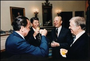 Four Chief Executives Sharing a Laugh. From left to right, Richard Nixon, Ronald Reagan, Gerald Ford, and Jimmy Carter