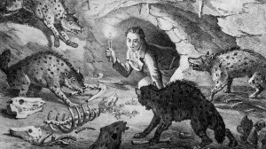An interpretive drawing of William Buckland crawling into Kirkdale Cave where he found extinct cave hyenas and the remains of their prey