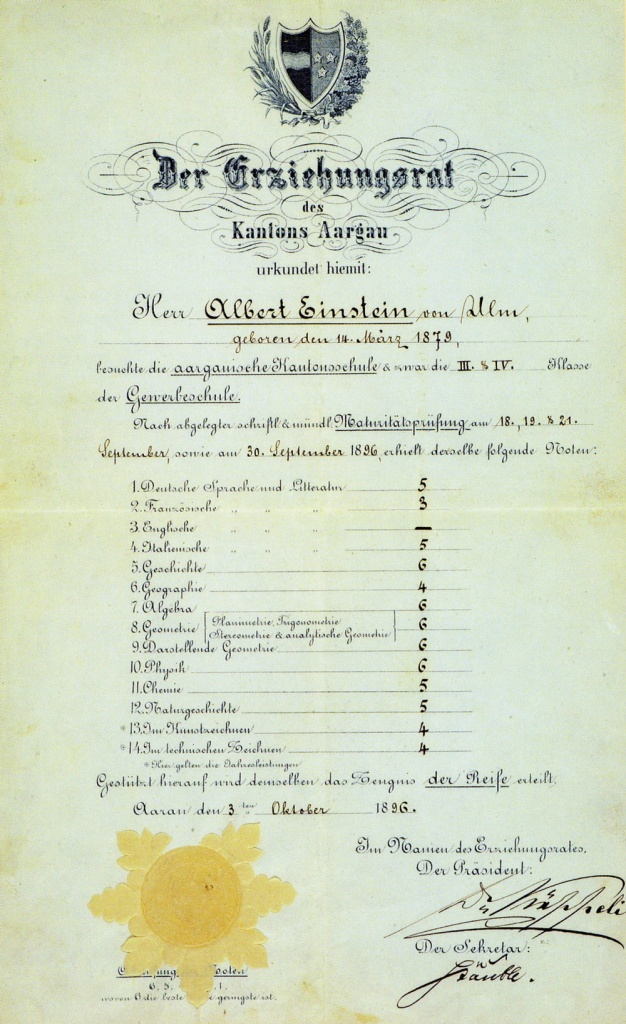 Albert Einstein's 1879 report card
