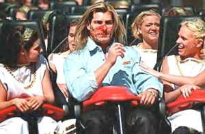 Fabio, shortly after suffering a bird strike while on a roller coaster.