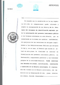 A page from Duran's notarized claim to the sun