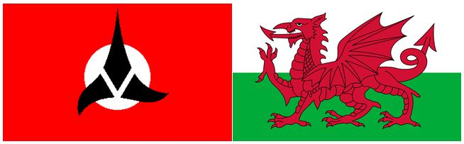Flags of the Klingon Empire and Wales