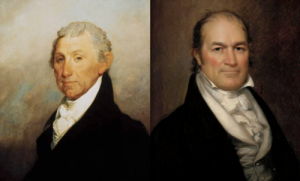President James Monroe (left) and Secretary of the Treasury William Crawford (right)