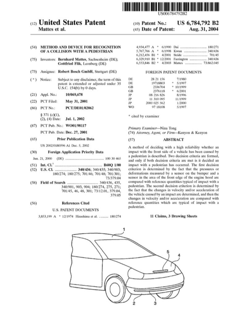 Patent-detect-collision-pedestrian