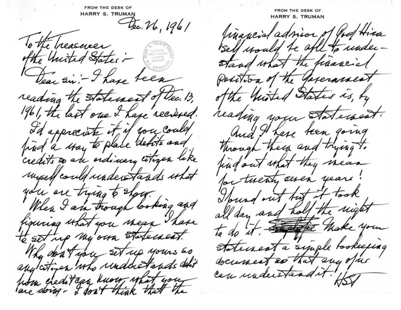 president harry truman letter treasurer temper