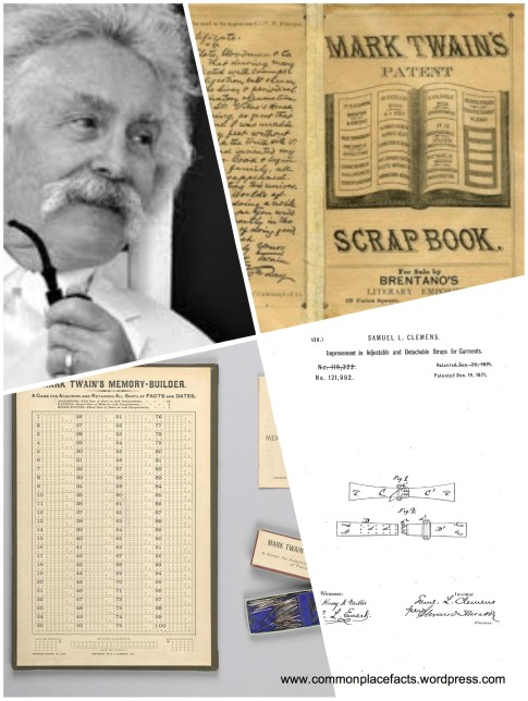 Mark Twain patents scrapbook garment strap memory game