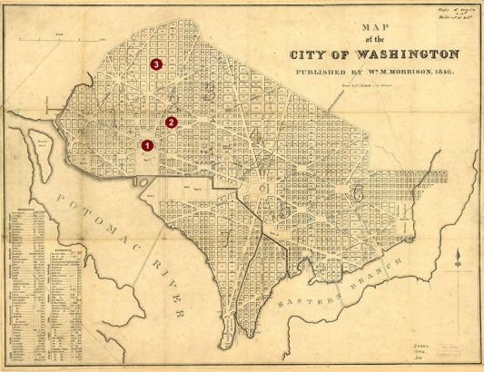 map washington dc deaths of harrison polk taylor