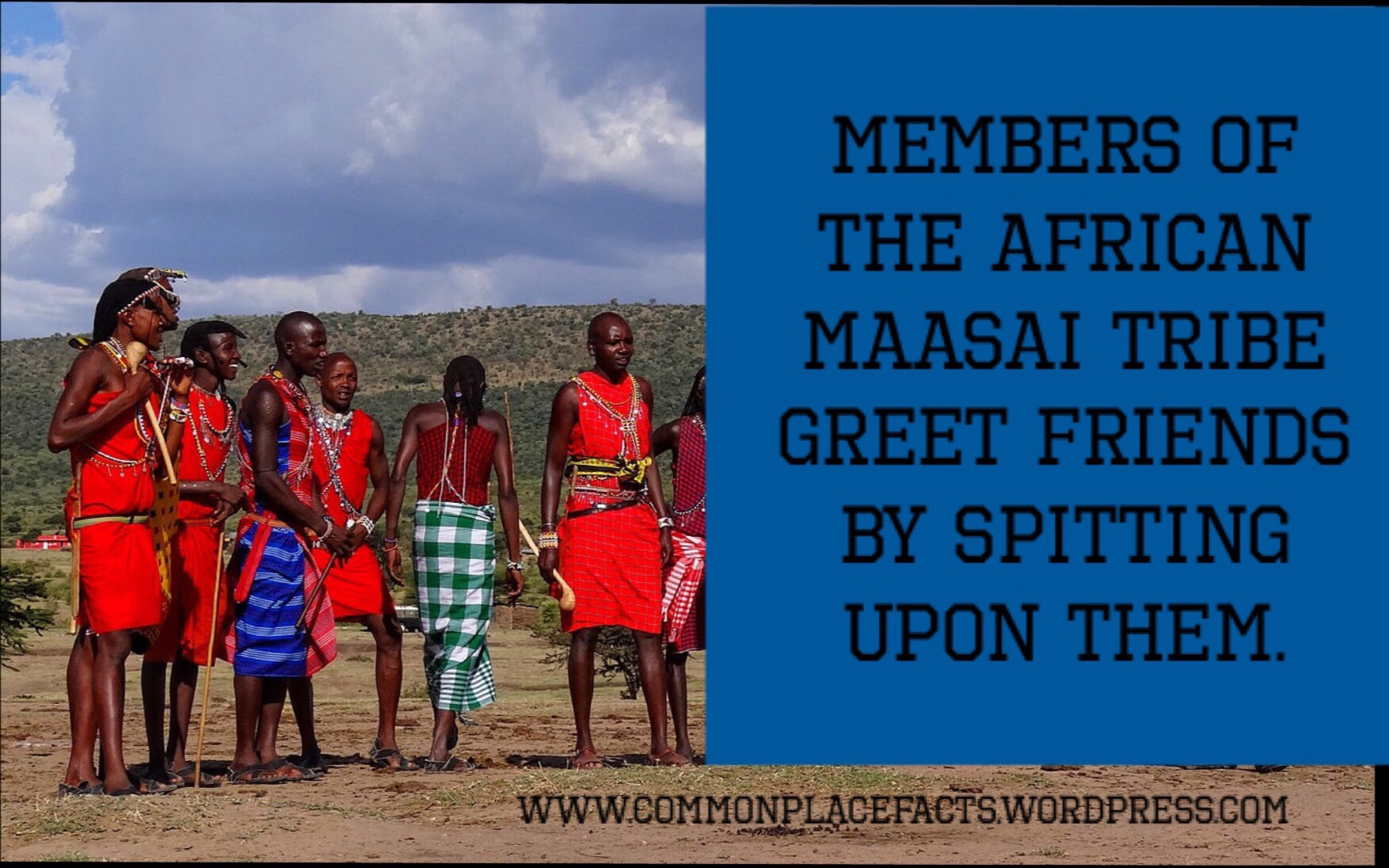 Maasai Tribe of Africa Greet Friends by spitting on them.