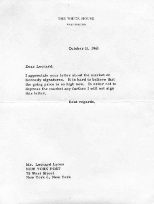 JFK unsigned letter