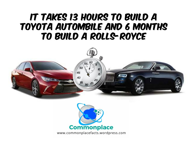 Takes 13 hours to build Toyota 6 months for Rolls-Royce