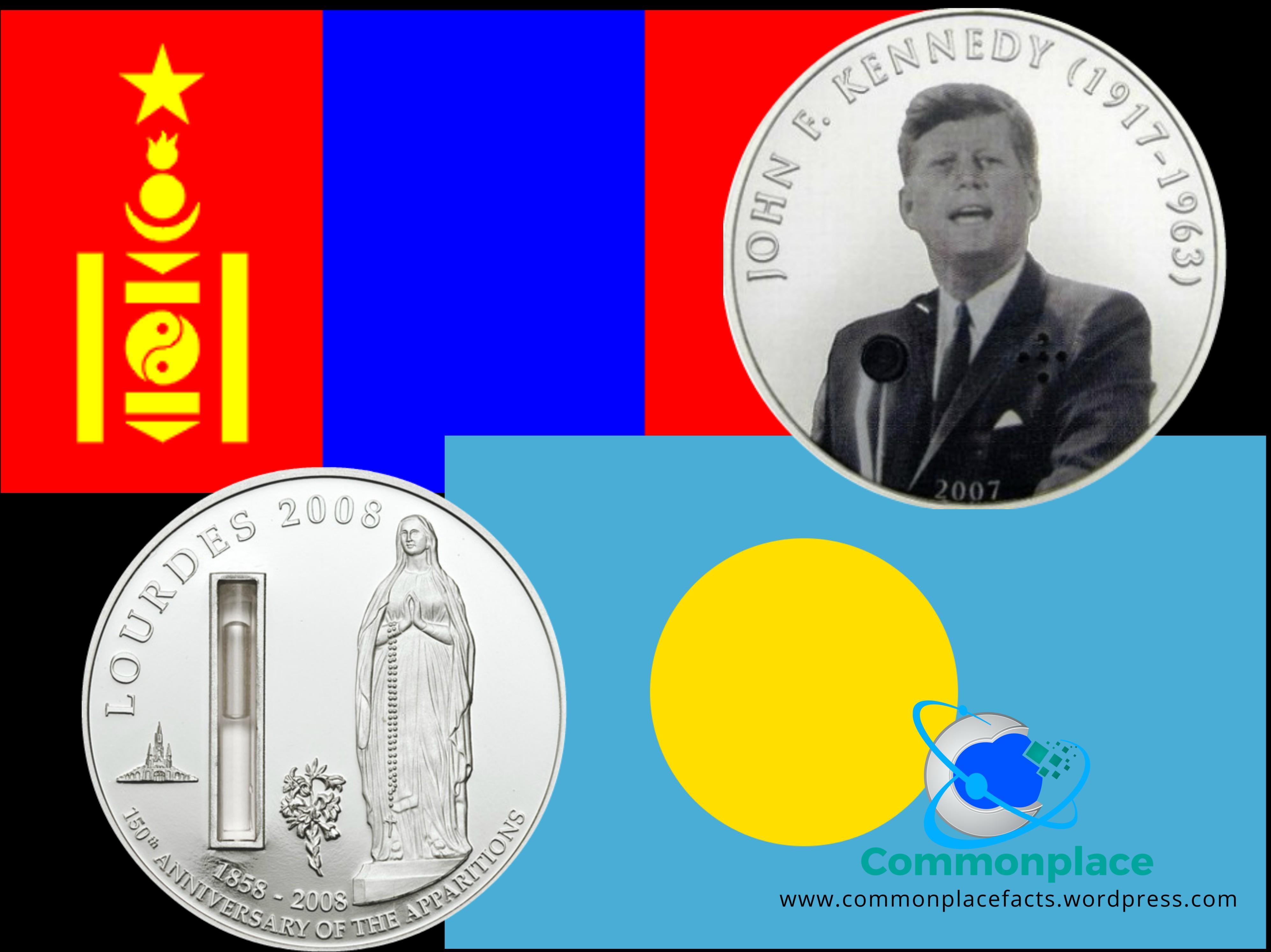 Mongolia talking JFK 500 coin Palau holy water silver dollar