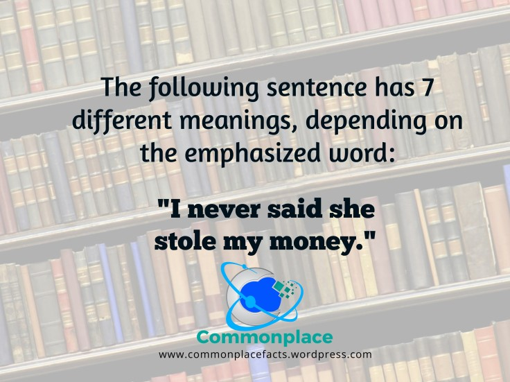 "Grammar rule ""I never said she stole my money."""