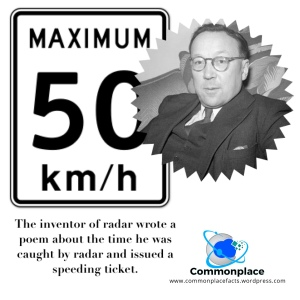Robert Watson-Watt, inventor of radar, was given a speeding ticket and wrote a poem about it.