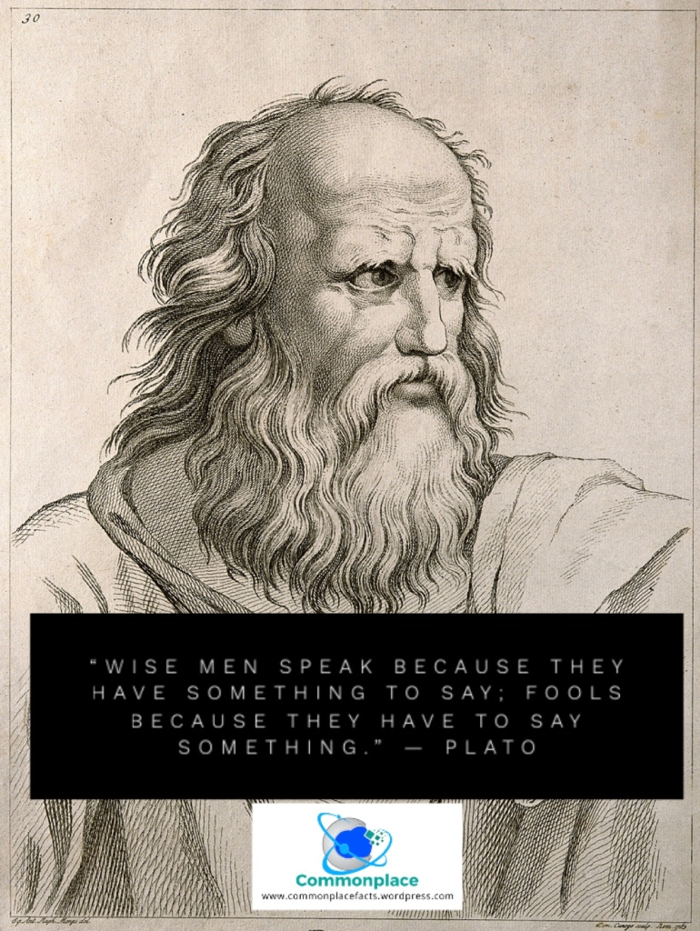 """""""Wise men speak because they have something to say; Fools because they have to say something."""" — Plato"""