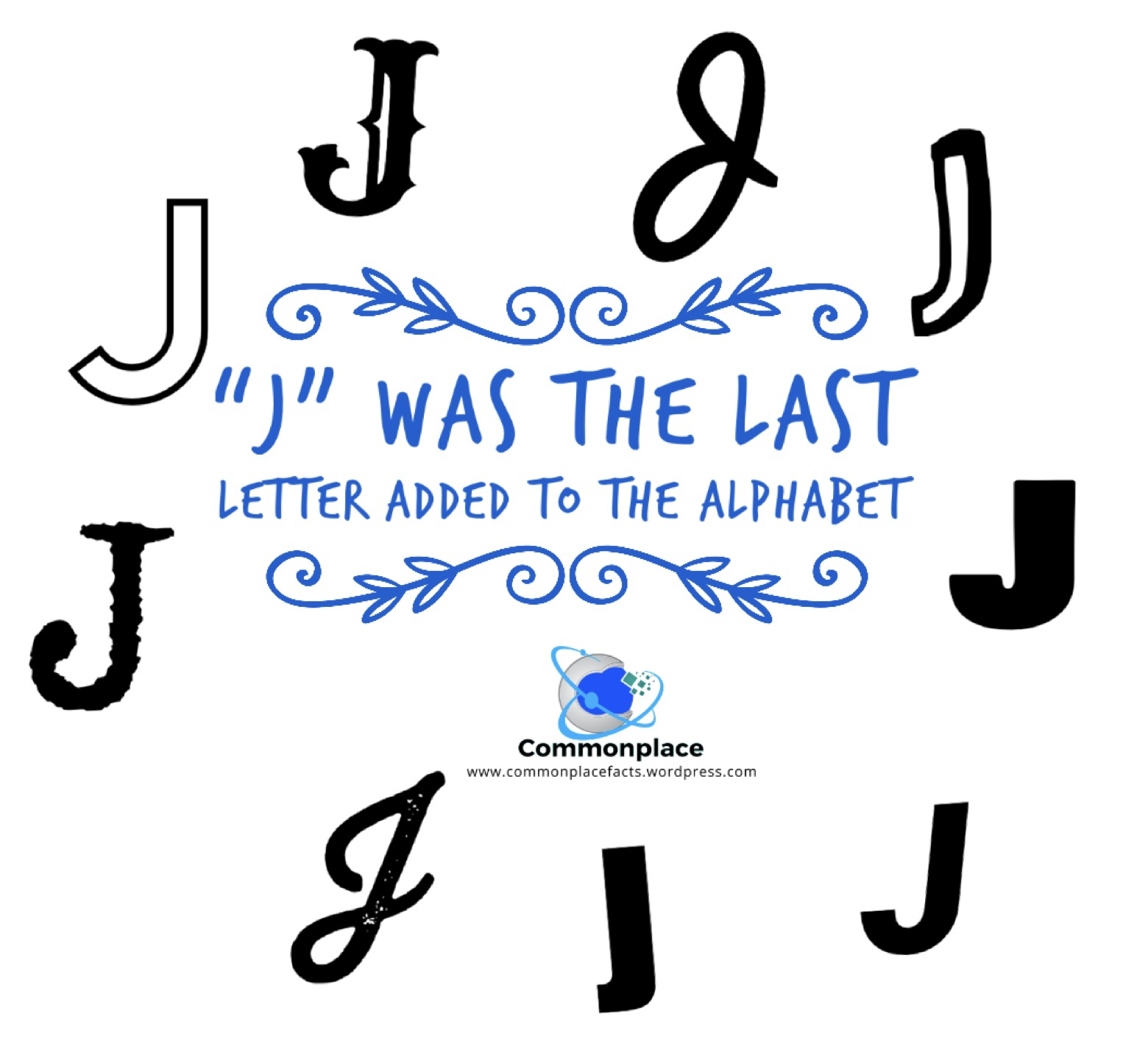 """J"" was the last letter added to the alphabet"