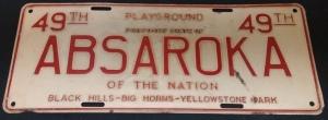 Absaroka license plate