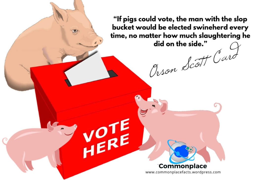 """""""If pigs could vote, the man with the slop bucket would be elected swineherd every time, no matter how much slaughtering he did on the side."""" Orson Scott Card"""