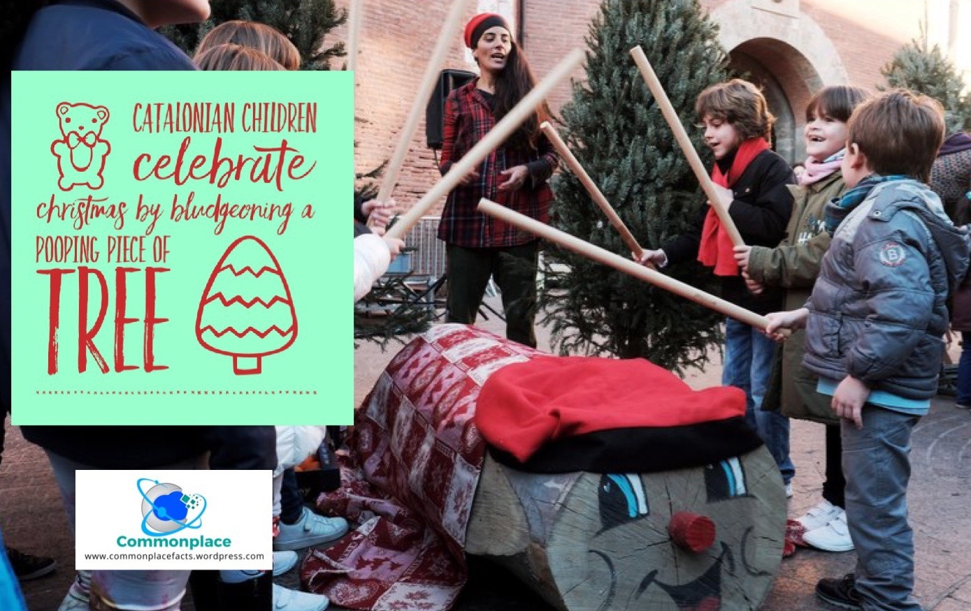 Catalonian children celebrate Christmas by bludgeoning a pooping piece of tree
