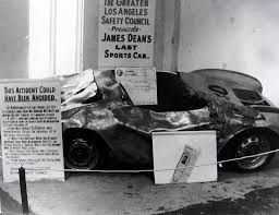 James Dean's wrecked car on display