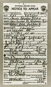 James Dean speeding ticket