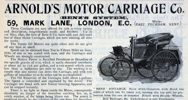 Arnold's Motor Carriage Walter Arnold First speeding ticket
