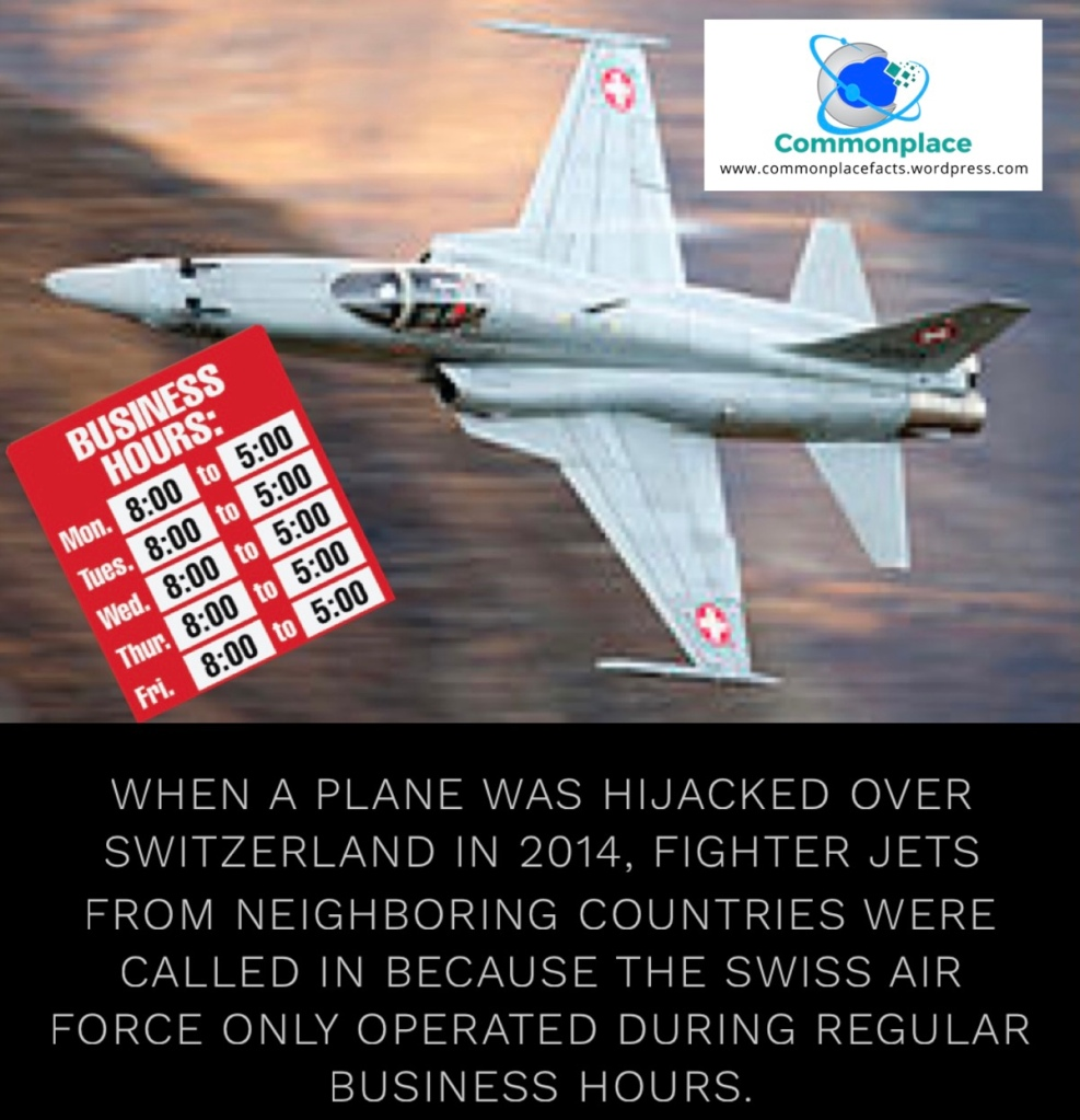 When a plane was hijacked over Switzerland in 2014, fighter jets from neighboring countries were called in because the Swiss Air Force only operated during regular business hours.